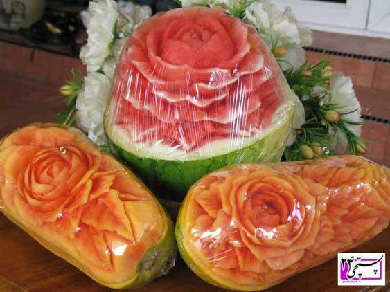 تزیین هندوانه شب یلدا عروس